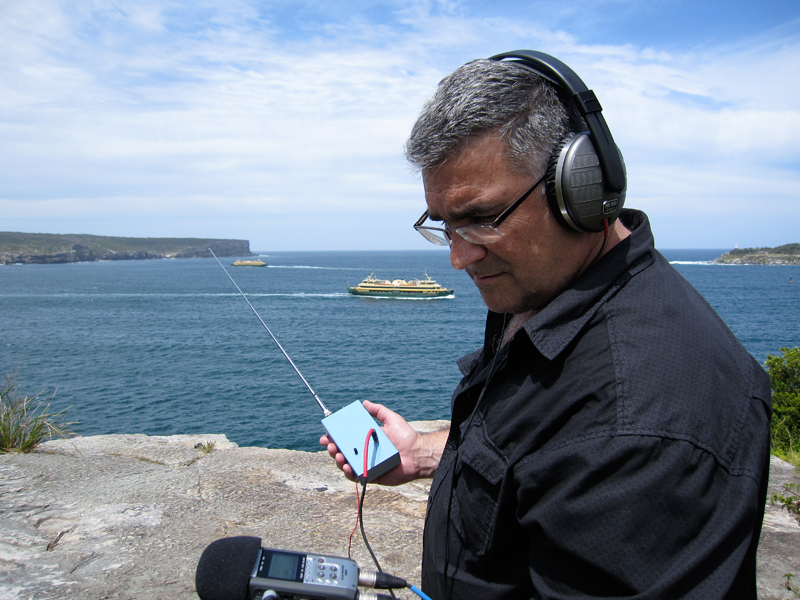 Michael Finucan recording ELF at Middle Head